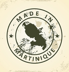 Stamp with map of Martinique vector