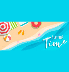 summer time banner tropical beach vacation vector image