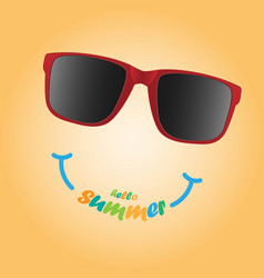 sunglasses with hello summer text summer concept vector image