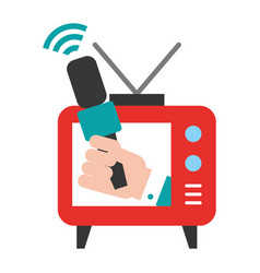 Television hand microphone broadcast breaking news vector