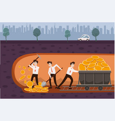the businessmen are holding a spade and a vector image