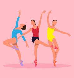 three ballerinas vector image