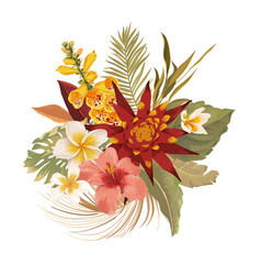tropical flowers wedding bouquet tropic leaves vector image
