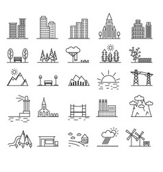 Urban scenery elements black thin line icon set vector