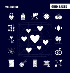 Valentine solid glyph icons set for infographics vector