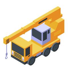 Vehicle crane icon isometric style vector