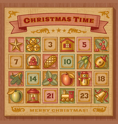 Vintage christmas advent calendar vector