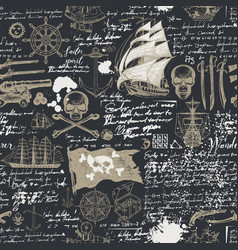 vintage seamless background on pirate theme vector image