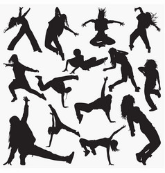 women street dance silhouettes vector image