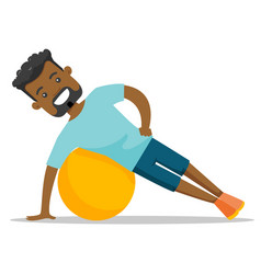 young african-american man exercising with fitball vector image