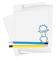 A paper with a drawing of an angry boy vector image vector image