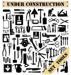 A set of tools silhouettes vector image