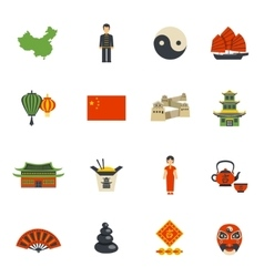 Chinese Culture Symbols Flat Icons Set vector image vector image
