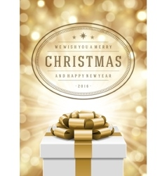 Christmas lights and typography label design gift vector image vector image