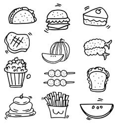 Doodle of food element set vector image vector image