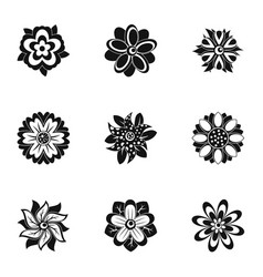 flower icon set simple style vector image