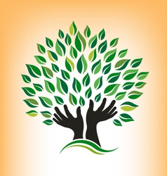 Supporting hand tree logo vector