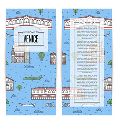 venice traveling flyers set in linear style vector image