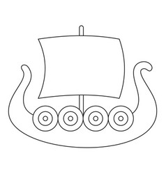 ancient boat icon outline style vector image