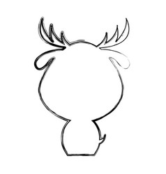 cute deer silhouette isolated icon vector image vector image