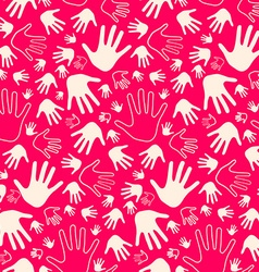 Seamless Palm Hands on Pink Retro Background vector image vector image