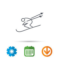 skiing icon skis jumping extreme sport sign vector image