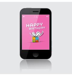 Smartphone with Happy Birthday Theme on Grey vector image vector image