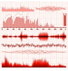 Sound waves set music background eps 8 vector