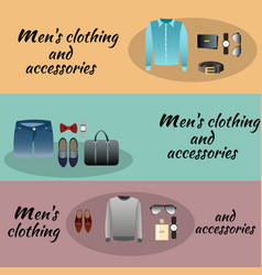 three colored men accessories with men clothing vector image