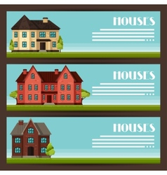 Town horizontal banners design with cottages and vector image vector image