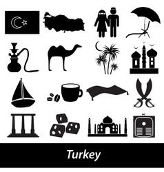turkey country theme symbols icons set eps10 vector image