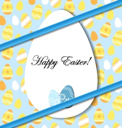 Easter card with egg and blue bow vector image vector image