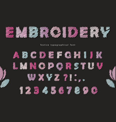 embroidery font design cute abc letters and vector image vector image