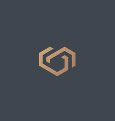 geometric heart logotype love home logo vector image vector image