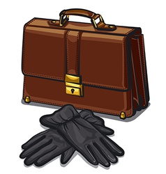 leather briefcase and gloves vector image vector image