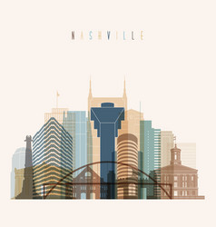 nashville state tennessee skyline detailed silhoue vector image vector image