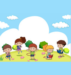 scene with many kids doing different activities vector image