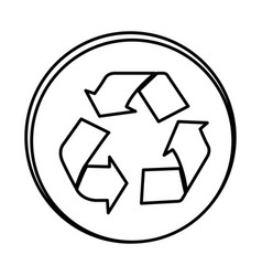 silhouette symbol recycle sign icon vector image