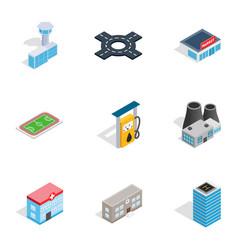 urban infrastructure icons isometric 3d style vector image