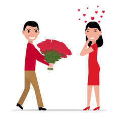cartoon man gives flowers to a woman vector image