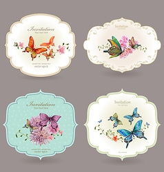 collection retro label with butterflies watercolor vector image