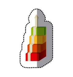 color cubes with arrow up icon vector image