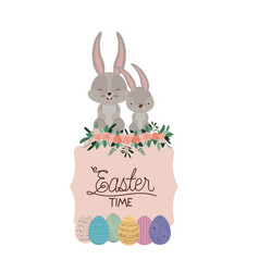 easter time frame with bunnies couple on top and vector image