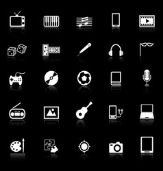 Entertainment icons with reflect on black vector image
