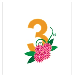 Number three with floral vector image vector image