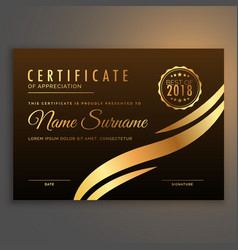 stylish premium certificate design in golden color vector image