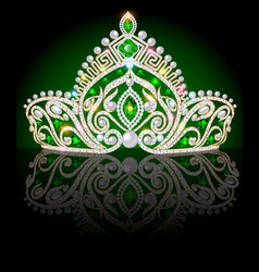 a crown diadem shiny tiara with emeralds on a vector image