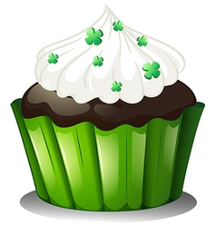 A flavorful chocolate cupcake vector