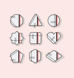 abstract black pop art emblems set on pink vector image