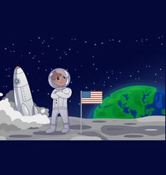 American astronaut standing on moon alongside vector
